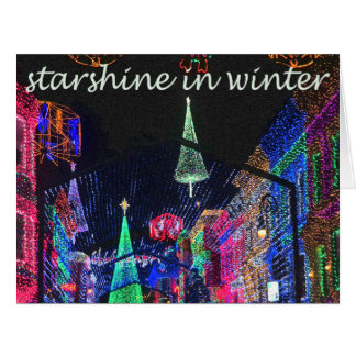 Starshine in Winter Christmas Light Greeting card