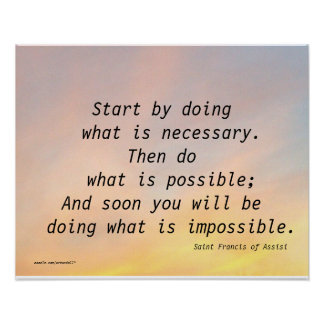 START BY DOING  SAINT FRANCIS OF ASSISI POSTER
