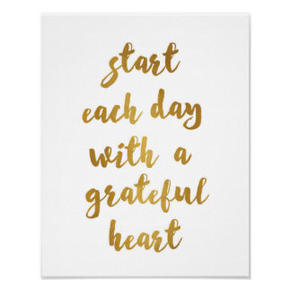 Start each day with a grateful heart - Art Print