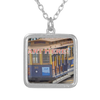 Start Here! San Francisco Cable Cars Trolley Cars Silver Plated Necklace