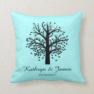 Start of New Family Tree, names/date; black/mint Cushion