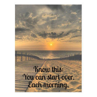 Start Over Inspirational Quote Postcard
