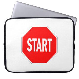 start road traffic sign symbol stop laptop sleeve