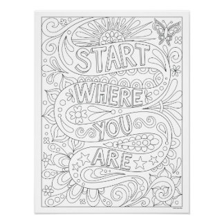 Start Where You Are Coloring Poster