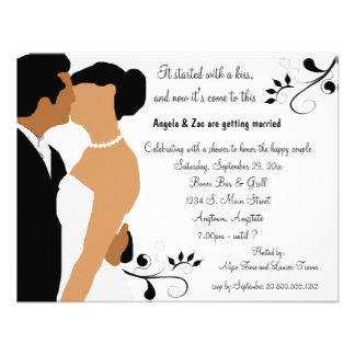 Started With A Kiss Dark Ethnic Bridal Invitation