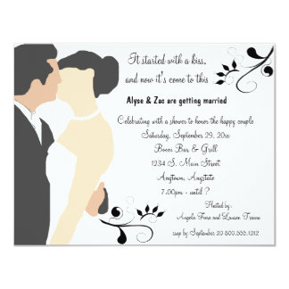 Started With A Kiss White Bridal Shower Invitation