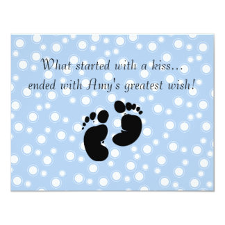 Started With A Kiss Wish Blue Baby Shower Card