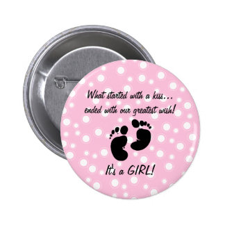 Started With A Kiss Wish Pink Custom Buttons