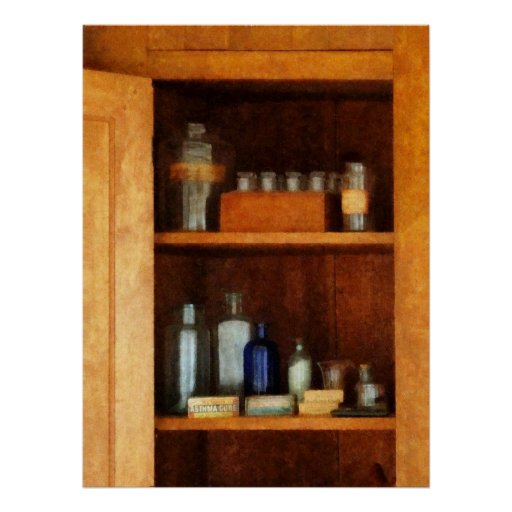 STARTING UNDER $20  Cabinet with Asthma Medication Posters