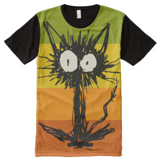 Startle Cat Orange Yellow Green All-Over Print T-Shirt