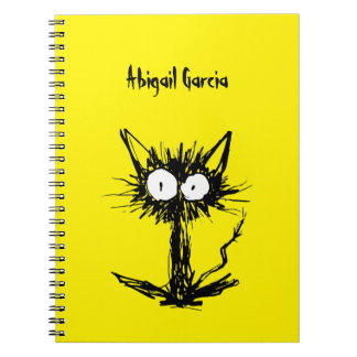Startle Cat Yellow Spiral Notebook