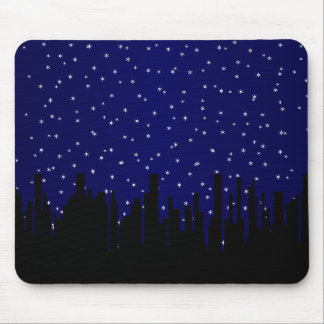 Stary Night Cityscape Mouse Pad