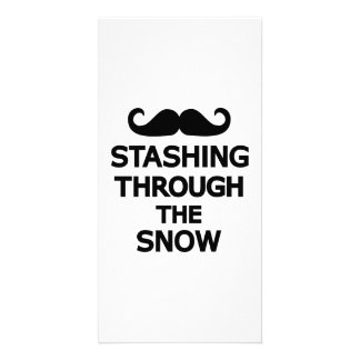 Stashing through the snow personalized photo card