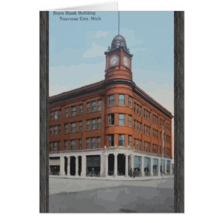 State Bank Building Traverse City Mich Vintage Greeting Card