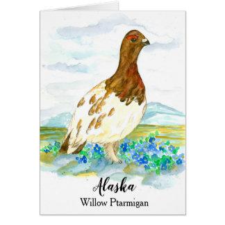 State Bird of Alaska Willow Ptarmigan Blank Card
