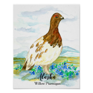 State Bird of Alaska Willow Ptarmigan Poster