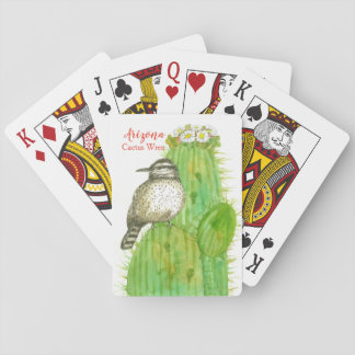 State Bird of Arizona Cactus Wren Watercolor Playing Cards