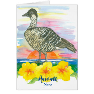 State Bird of Hawaii Nene Watercolor Blank Card