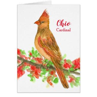 State Bird of Ohio Cardinal Blank Card