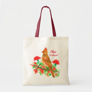 State Bird of Ohio Cardinal Red Carnations Tote Bag