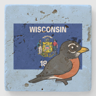 State Birdorable of Wisconsin: American Robin Stone Coaster