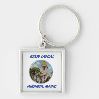 State Capital Augusta Maine Silver-Colored Square Key Ring