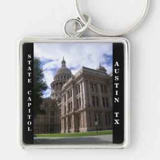 State Capitol Building/Austin, Texas Silver-Colored Square Key Ring