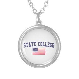 State College US Flag Silver Plated Necklace