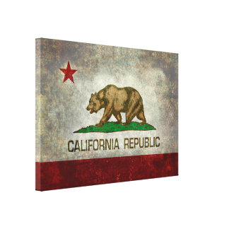 State flag of California, retro vintage style Canvas Print