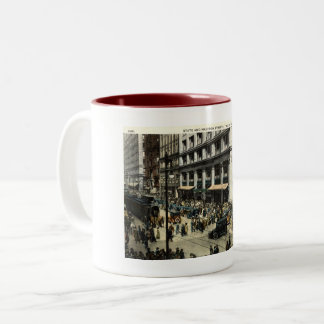 State & Madison Sts., Chicago IL, 1922 Vintage Two-Tone Coffee Mug