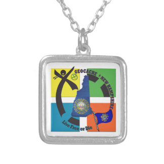 STATE NEW HAMPSHIRE GEOCACHER SILVER PLATED NECKLACE