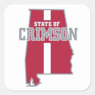 State Of Crimson Square Sticker