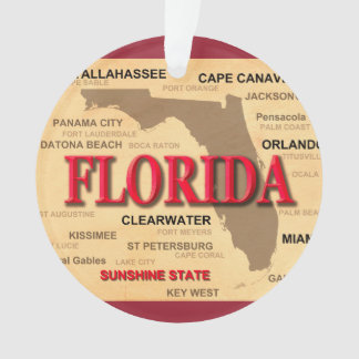 State Of Florida Map, Miami, Orlando, Key West Ornament