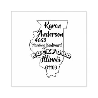 STATE OF ILLINOIS LINCOLN RETURN ADDRESS ROCKFORD RUBBER STAMP