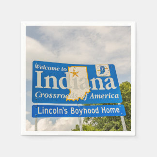 State of Indiana Welcome Sign Disposable Napkin
