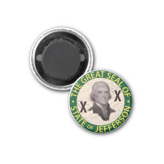 State of Jefferson Button with Constitution Inlay 3 Cm Round Magnet
