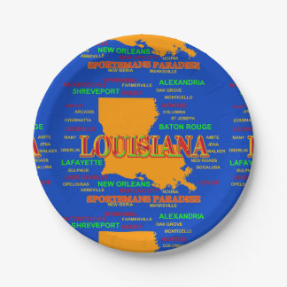 State of Louisiana Map, New Orleans, Shreveport Paper Plate