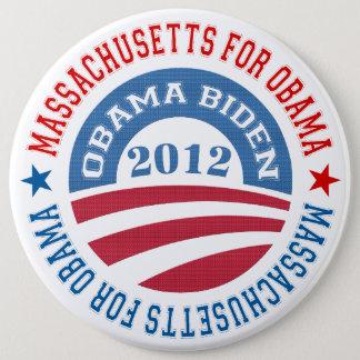 State Of Massachusetts For Obama-Obama Biden 2012 6 Cm Round Badge