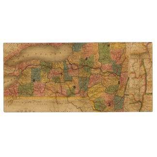 State of New York by DH Burr Wood USB 2.0 Flash Drive