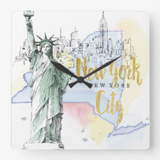 State of New York | Statue of Liberty Square Wall Clock