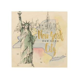 State of New York | Statue of Liberty Wood Wall Art