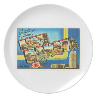 State of North Dakota ND Vintage Travel Souvenir Dinner Plate