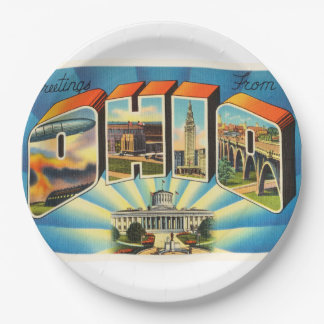 State of Ohio #2 OH Old Vintage Travel Souvenir 9 Inch Paper Plate
