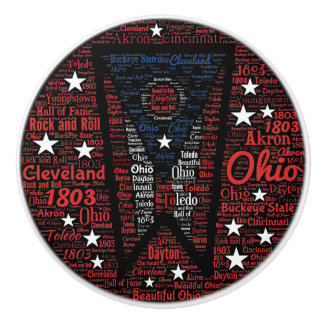 State of Ohio Word Art Ceramic Knob