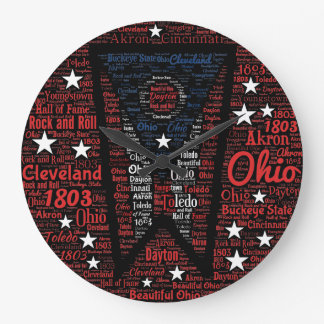 State of Ohio Word Art Round (Large) Wall Clock
