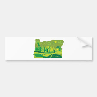 State of Oregon Map Environment Eco Outline Bumper Sticker