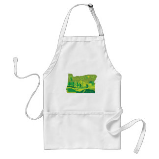 State of Oregon Map Environment Eco Outline Standard Apron