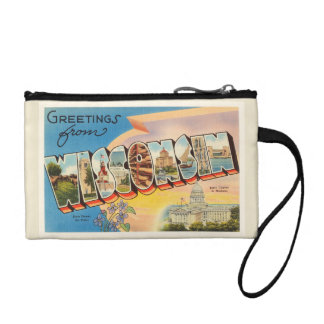 State of Wisconsin WI Old Vintage Travel Souvenir Coin Wallet