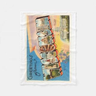 State of Wisconsin WI Old Vintage Travel Souvenir Fleece Blanket