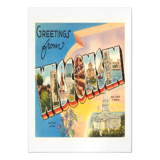 State of Wisconsin WI Old Vintage Travel Souvenir Magnetic Invitations